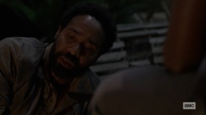 The World Before- Virgil tells Michonne that mercy is in short supply these days- AMC, The Walking Dead