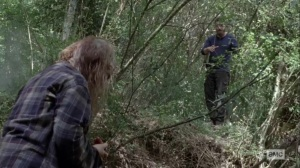 What It Always Is- Aaron throws some bandages to Gamma- AMC, The Walking Dead
