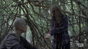 What It Always Is- Gamma shows Alpha her bandaged hand- AMC, The Walking Dead