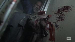 What It Always Is- Negan crushes walker's head with a door- AMC, The Walking Dead
