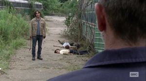 What It Always Is- Negan sees that Brandon has killed the woman and her son- AMC, The Walking Dead