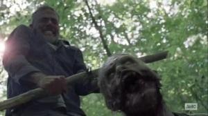 What It Always Is- Negan slices off walker's head- AMC, The Walking Dead