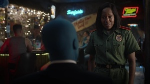 A God Walks Into a Bar- Angela tells Jon she can't be in a relationship if it will end in tragedy- HBO, Watchmen