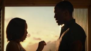 A God Walks Into a Bar- Jon explains to Angela how the Tachyon device will work on him- HBO, Watchmen