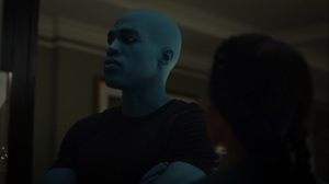 A God Walks Into a Bar- Jon is not sure when he is right now- HBO, Watchmen