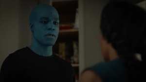 A God Walks Into a Bar- Jon tells Angela that the Seventh Kavalry intends to destroy him- HBO, Watchmen