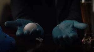 A God Walks Into a Bar- Manhattan makes an egg- HBO, Watchmen
