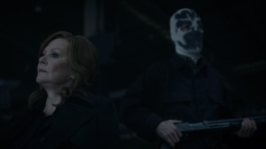 See How They Fly- Wade in disguise as Kavalry member behind Laurie- HBO, Watchmen