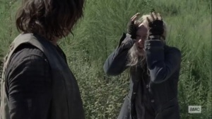 Squeeze- Carol tells Daryl to blame her for what happened- AMC, The Walking Dead