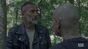 Squeeze- Negan suggests that there's a spy in Alpha's camp- AMC, The Walking Dead