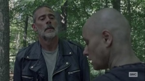 Squeeze- Negan tells Alpha that there's a mole in her ranks- AMC, The Walking Dead