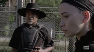 Stalker- Gabriel tells Rosita that she will stay to defend Alexandria- AMC, The Walking Dead