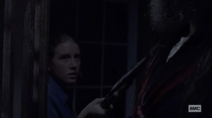 Stalker- Laura holds a spear to Beta- AMC, The Walking Dead