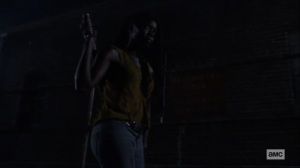 What We Become- Michonne explores the compound at night- AMC, The Walking Dead