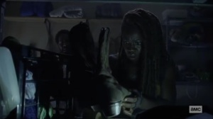 What We Become- Michonne finds Rick's boots- AMC, The Walking Dead