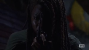 What We Become- Michonne radios to Judith- AMC, The Walking Dead
