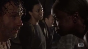What We Become- Michonne stands before Rick- AMC, The Walking Dead