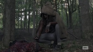 What We Become- Michonne steals Andrea's supplies- AMC, The Walking Dead