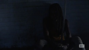 What We Become- Michonne stews in her cell- AMC, The Walking Dead