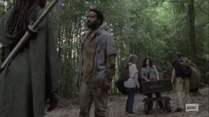 What We Become- Michonne tells Virgil that he's invited to join them on the boat- AMC, The Walking Dead