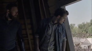 The Tower- Alden and Aaron in the windmill- AMC, The Walking Dead