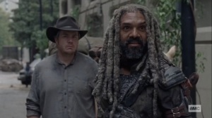 The Tower- Ezekiel asks Princess if the walker displays are hers- AMC, The Walking Dead