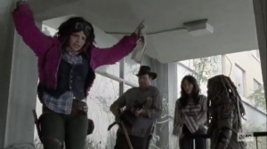 The Tower- Princess leads Eugene, Yumiko, and Ezekiel to the garage- AMC, The Walking Dead