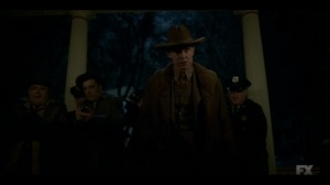 The Land of Taking and Killing- Timothy Olyphant about to kick down the door- Fargo, FX