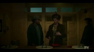 The Land of Taking and Killing- Zelmare Roulettte, played by Karen Aldridge, and Swanee Capps, played by Kelsey Asbille, want another woman's coat- Fargo, FX