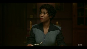 Welcome to the Alternate Economy- Dibrell, played by Anji White, tells Ethelrida to sit down- Fargo, FX