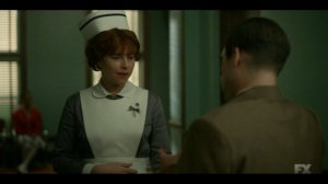 Welcome to the Alternate Economy- Josto asks Oraetta Mayflower, played by Jessie Buckley, for some drugs- Fargo, FX