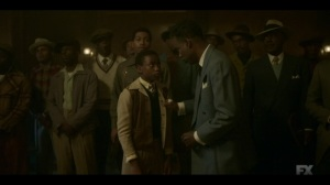 Welcome to the Alternate Economy- Loy speaks with his son, Satchel, played by Rodney Jones- Fargo, FX