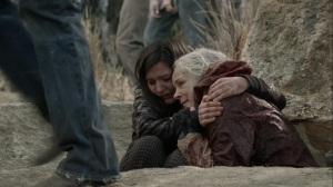 A Certain Doom- Lydia and Carol wait for all the walkers to go over the cliff- AMC, The Walking Dead