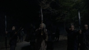 A Certain Doom- Shooting arrows at the Whisperers- AMC, The Walking Dead