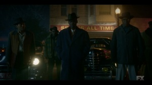 The Birthplace of Civilization- Loy and his men look over Doctor Senator's body- FX, Fargo