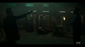 The Birthplace of Civilization- Weff points his gun at Loy- FX, Fargo