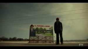 East West- Satchel sees The Future is Now billboard- Fargo, FX