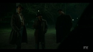 Happy- Joe Bulo, Josto, and Gaetano wait outside Odis' home- Fargo, FX