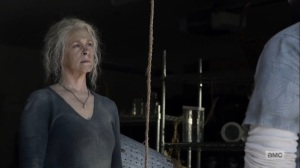 Diverged- Carol asks why Jerry is checking on her- AMC, The Walking Dead
