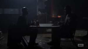 One More- Gabriel teaches Aaron how to savor whiskey- AMC, The Walking Dead