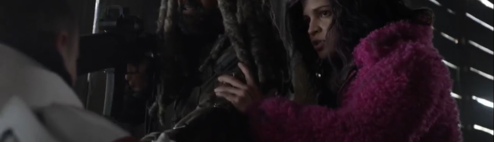 Splinter- Ezekiel and Princess interrogate the Commonwealth soldier- AMC, The Walking Dead