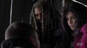 Splinter- Ezekiel threatens to hurt the Commonwealth soldier- AMC, The Walking Dead