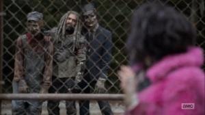 Splinter- Princess spots Ezekiel with two walkers- AMC, The Walking Dead