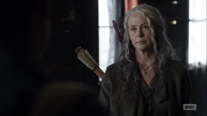 Here's Negan- Carol tells Negan that the council voted to banish him- AMC, The Walking Dead