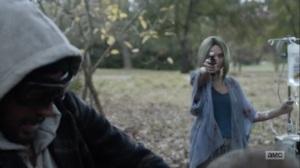 Here's Negan- Lucille shoots a walker- AMC, The Walking Dead