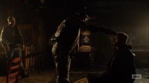 Here's Negan- Man points a gun at Negan's head- AMC, The Walking Dead
