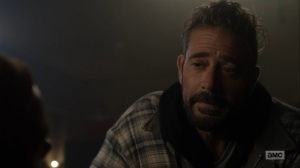Here's Negan- Negan tells Lucille that it's too dangerous to leave- AMC, The Walking Dead