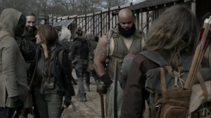 Acheron Part I- Maggie reunited with Duncan, played by Marcus Lewis, Frost, played by Glenn Stanton, and Agatha, played by Laurie Fortier- AMC, The Walking Dead