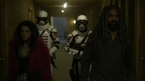 Acheron Part I- Yumiko and Eugene disguised as Commonwealth guards- AMC, The Walking Dead