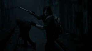 Acheron Part II- Daryl takes on walkers with his flail- AMC, The Walking Dead